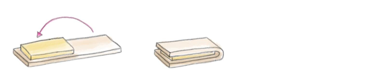 Explication de l'assemblage de la détrempe avec le pâton au beurre pour la recette de la pâte feuilletée inversée.