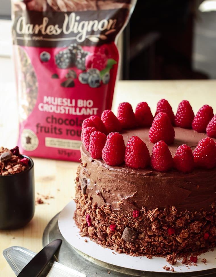 CapucineDinochau-Bigout-photographe culinaire-Charles Vignon muesli bio-chocolat fruits rouges layer cake